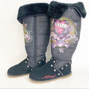 Ed Hardy Love Kills Slowly Snowblazer boots size 8